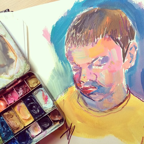 Painting a moving target IS harder than drawing #reading #sketbook