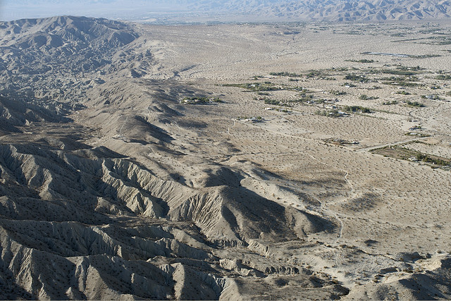 Aerial view along the Mission Creek Fault, Riverside County, California