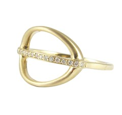Stretched Oval Band Ring - Side - Line