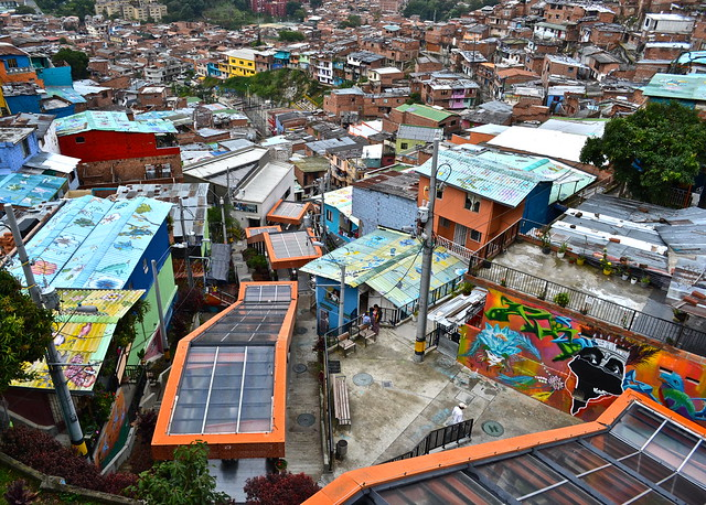 view of the electric stairs of comuna 13 medellin