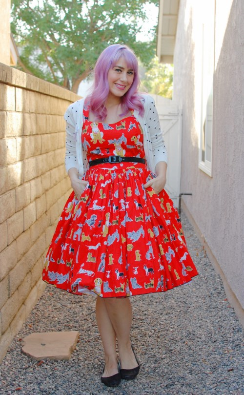 Bernie Dexter Rose Pin Up dress in red dog print 015