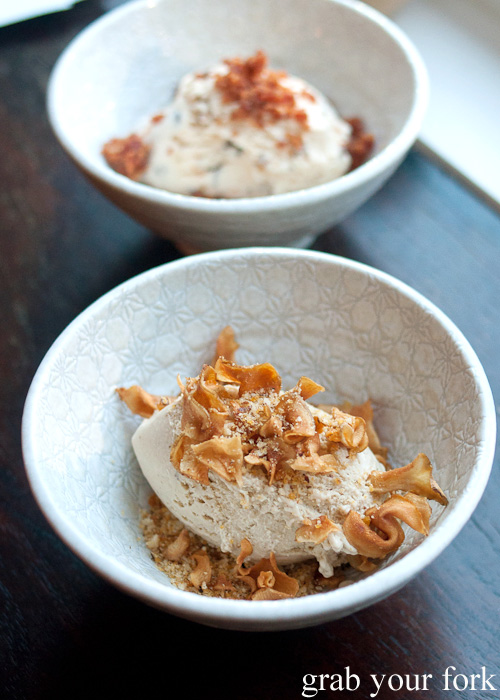 Jersualem artichoke ice cream and hazelnut praline at ACME, Rushcutters Bay
