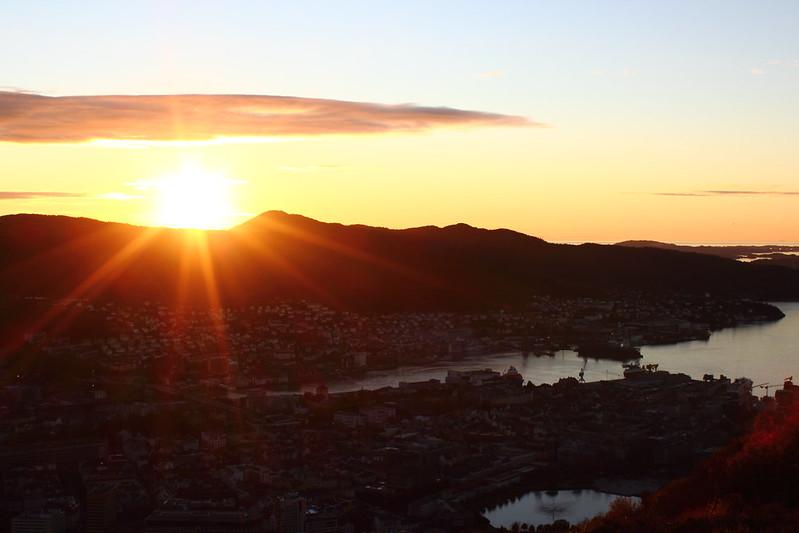 Sunset behind Lyderhorn