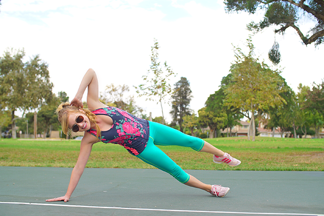 albion fit floral workout top and seafoam pants