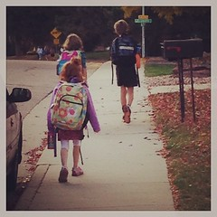 Growing so fast. Already walking home with the girls. #thishouseissuchablessing #fall #school