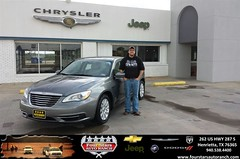 #HappyAnniversary to Justin Fowler on your 2013 #Chrysler #200 from Tracey Frerich at Four Stars Auto Ranch!