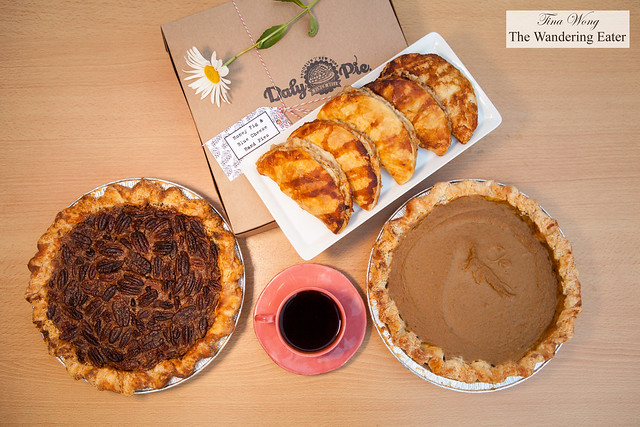 Wonderful fresh pies from Daly Pie (Brooklyn, NY) - Chocolate Bourbon Pecan Pie, Honey Fig & Blue Cheese Hand Pies, Pumpkin Pie