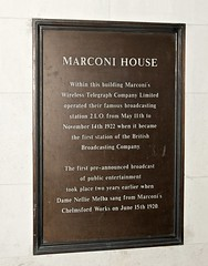 Photo of Wireless Telegraph Company Limited, Nellie Melba, and Guglielmo Marconi bronze plaque
