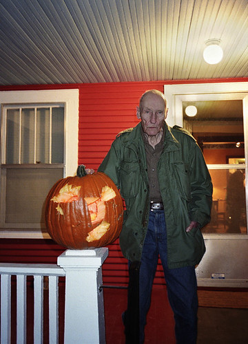 William Burroughs and his hatched Jack o' Lantern