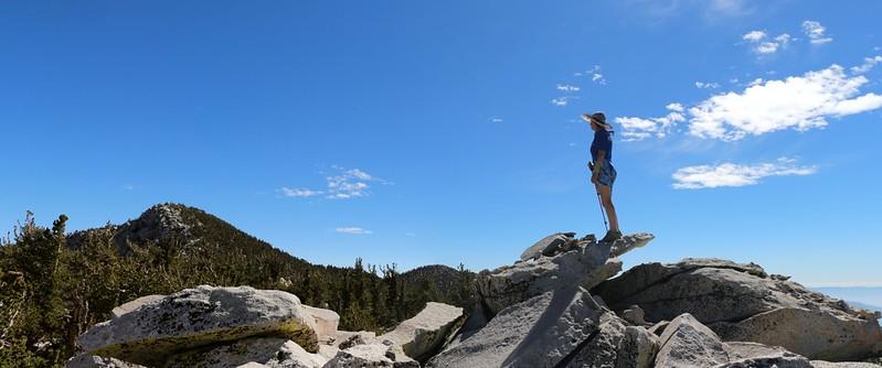 Vicki on the Folly Peak Summit looking southeast toward San Jacinto Peak