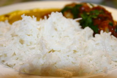 Fish curry, daal served with boiled rice