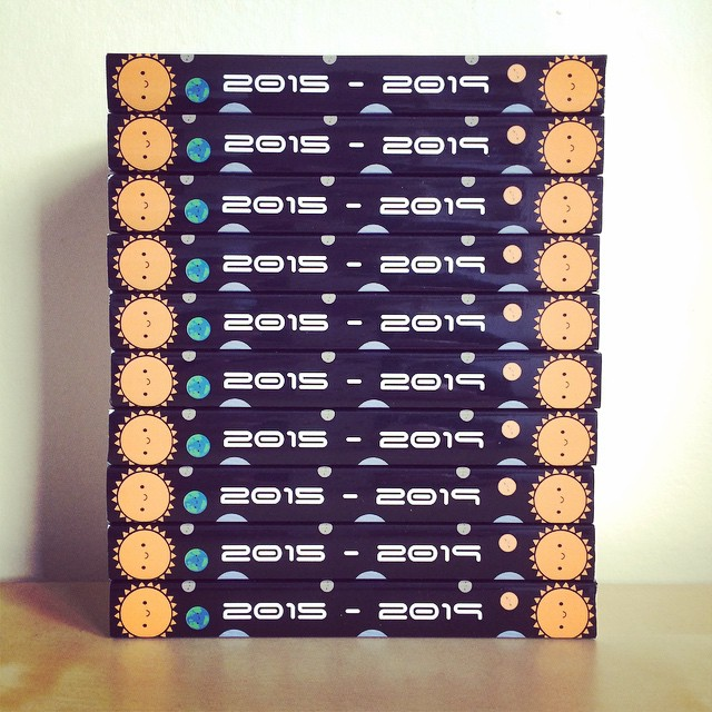 I look forward to taking this photo every year - 5 year diary spines!
