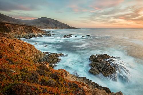 california statepark sunset seascape landscape coast shoreline bigsur rocky shore jagged garrapatastatepark garrapata
