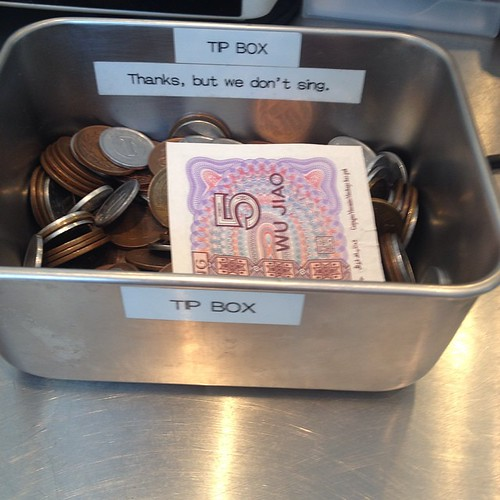 Tip box at Frijoles in Roppongi -- literally the first tip jar I've seen all week. There is a Coldstone Creamery across the street, hence the reference to singing.