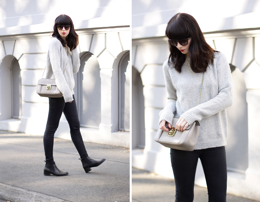 French autumn look outfit ootd styling Jades24 pullover knit grey Monnier Frères Chloé bag nude pink sunglasses Gucci blogger fashionblogger german beautyblogger ricarda schernus cats & dogs blog 1