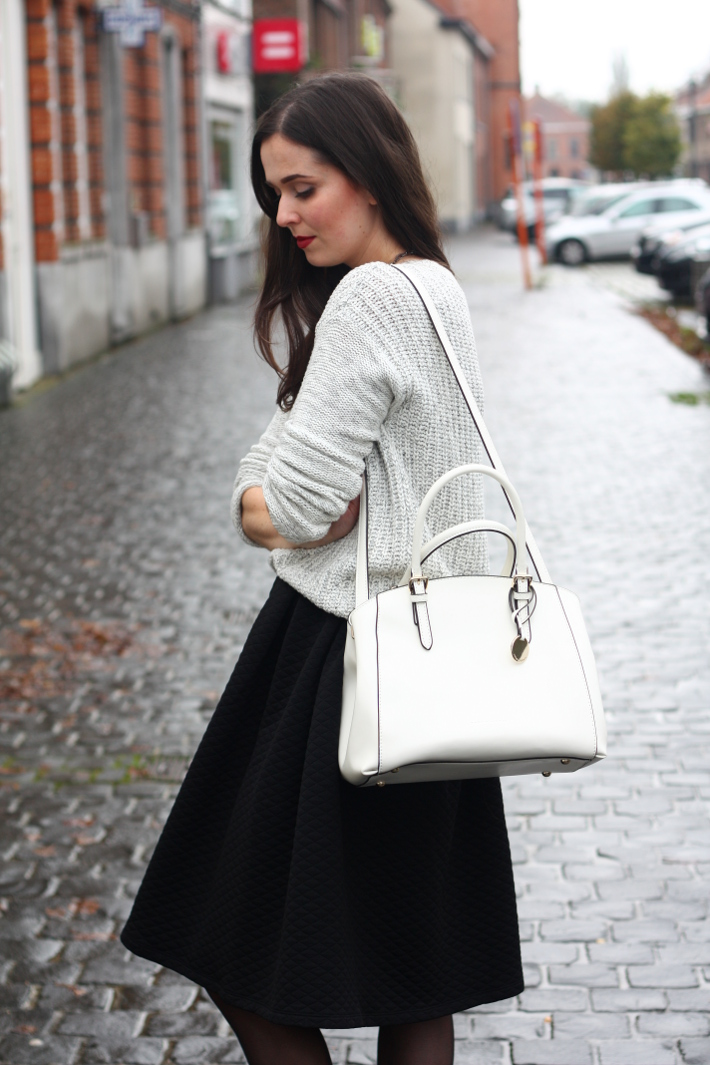 outfit midi skirt patent white purse