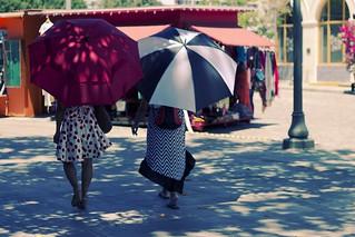 Women walking down the sidelines