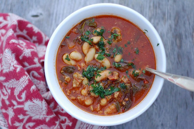 Chard, sausage and white bean soup by Eve Fox, The Garden of Eating, copyright 2014