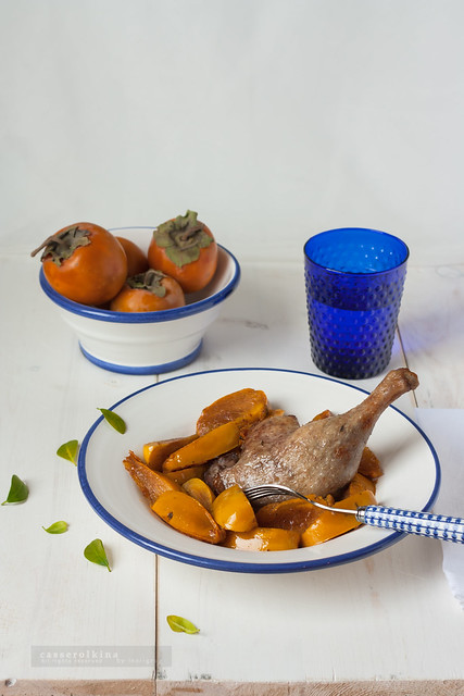 Duck marinated with wine, red pepper and cinnamon and fried persimmon