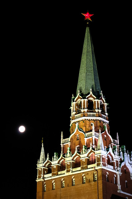 Tower of Kremlin with super moon, Moscow モスクワ、クレムリンの塔とスーパームーン