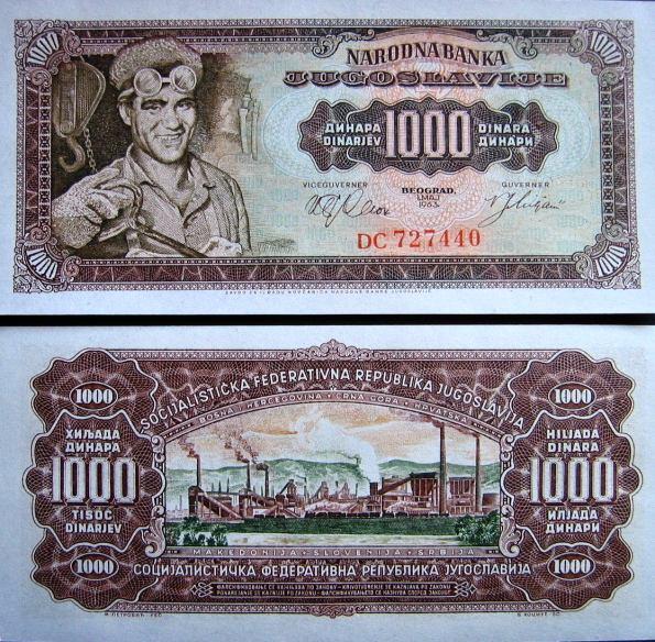 1000 Dinárov Juhoslávia 1963, Pick 75a