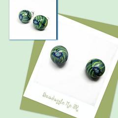 polymer clay Swirly Green Post Earrings