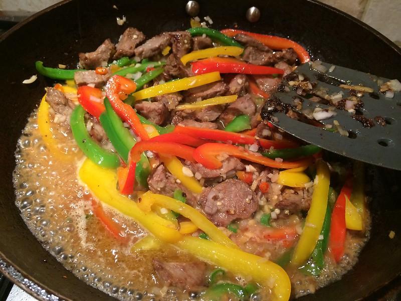 Sizzling Beef Teriyaki : Add the stock