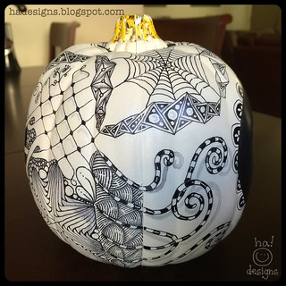 Zentangle® Inspired Art : Tangled Chalkboard Pumpkin (Left)