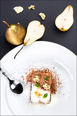 Pear Dessert. Food Photography