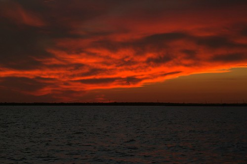 sunset sky orange evening bay texas cloudy peaceful sanleon dickinsonbay