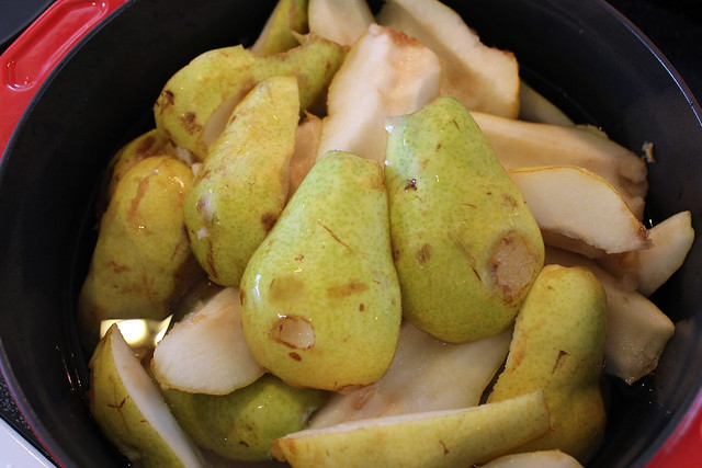 Cut Pears in Quarters or Halves & Place in Large Pot