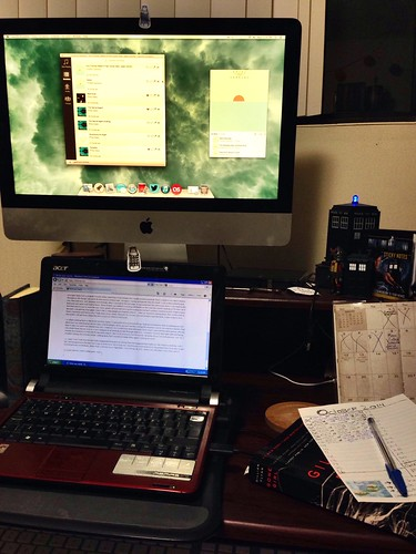 desk / netbook / iMac / book / pen & paper