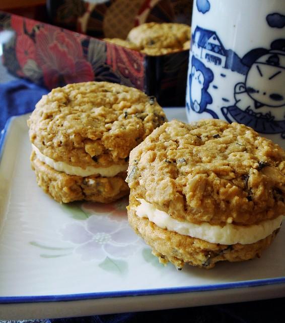 Kinako Nori Sesame Sandwich Cookies with Miso Buttercream