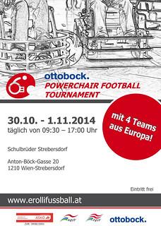 Vorderseite Plakat / Ottobock. Powerchair Football Tournament