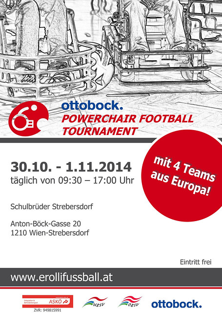 Vorderseite Plakat / Ottobock. Powerchair Football Tournament