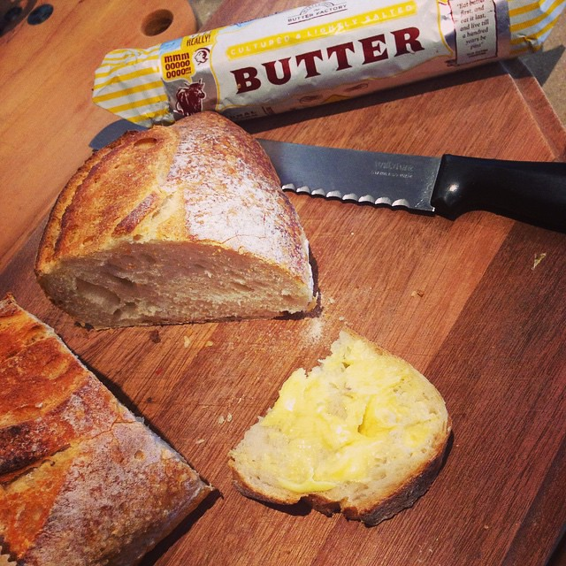 Dieticians look away. Gorgeous @flourandchocolate sourdough smothered with @thebutterfactor butter. Mmmm