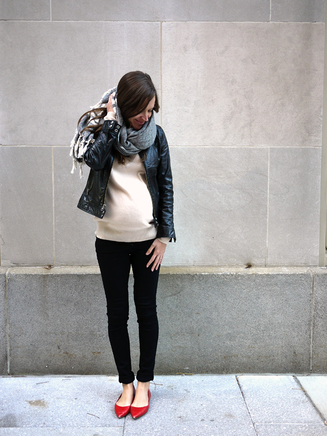 black leather moto jacket, pop of color, maternity style, ethical fashion, my fair vanity