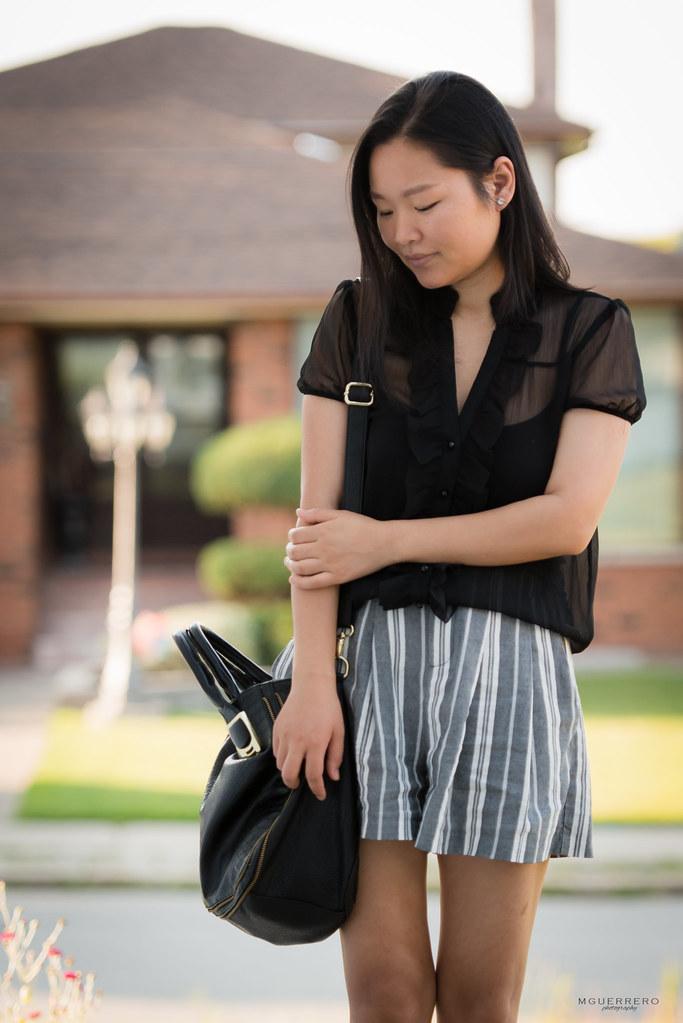 Sheer ruffled top pinstripe shorts 06