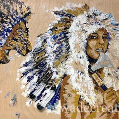 "fearless. 48x40"" mixed media on wood acrylic, silver leaf, feathers  #available #art"