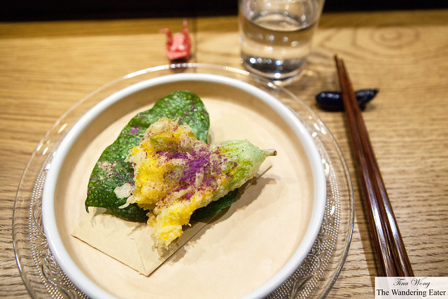 Tempura of towel squash stuffed with shrimp and uni, towel squash leaf dusted with ube powder