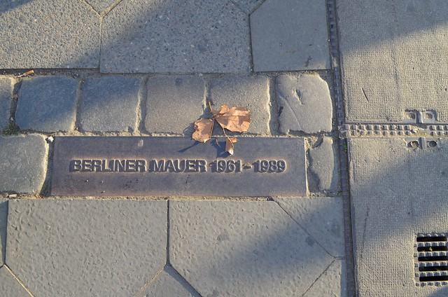 Berlin Fall of The Wall 25 Year Anniversary Lichtgrenze_ Berliner Mauer sidewalk plaque