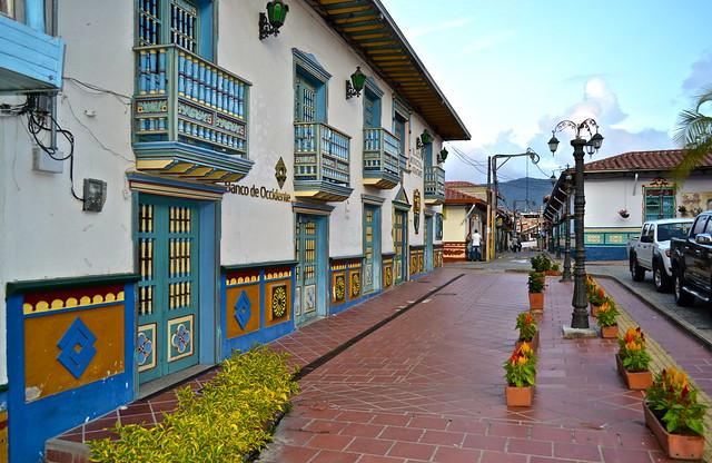 main plaza street, guatape colombia