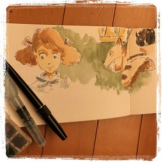 #japon #ghibli #moleskine #platinum #carbon #watercolor #urbansketch