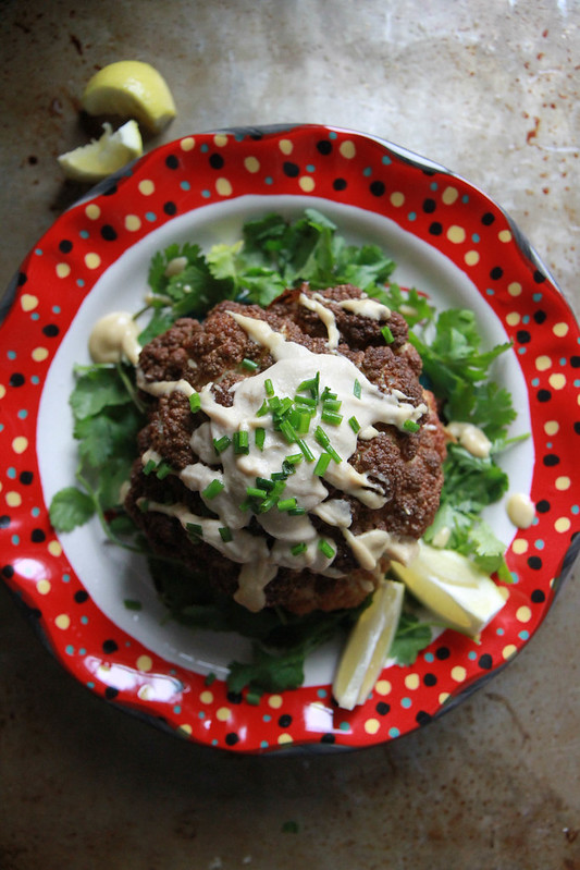 Whole Fried Cauliflower with Tahini Lemon Sauce