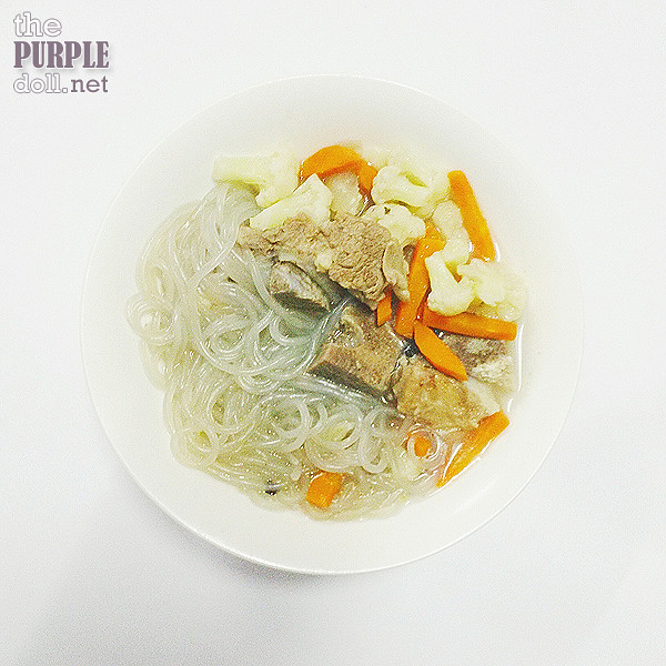 Beef bone broth with sweet potato noodles, carrots and cauliflower