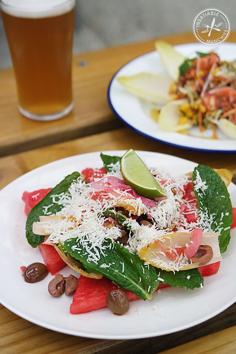 Watermelon, olive + mint salad, queso fresco and lime, $15