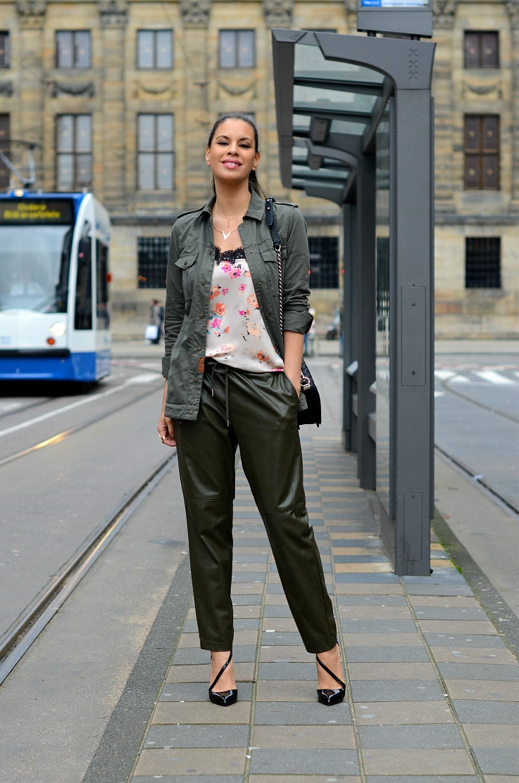 DSC_2775 Army green leather jogging pants, Zara Floral lingerie top, Chanel Biy bag, Tamara Chloé