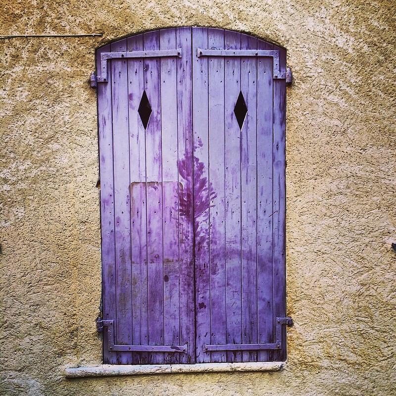 Purple window shutters