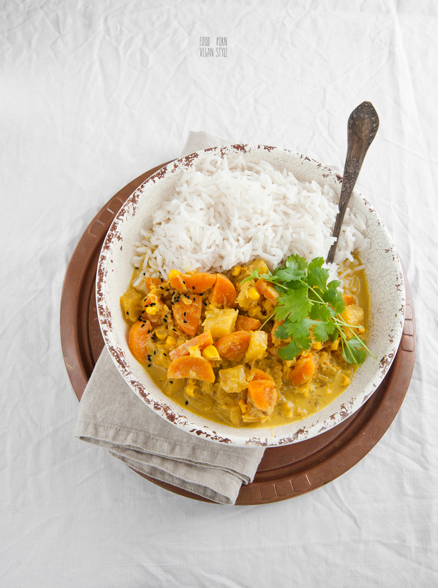 Vegan Korma, creamy curry with seasonal vegetables