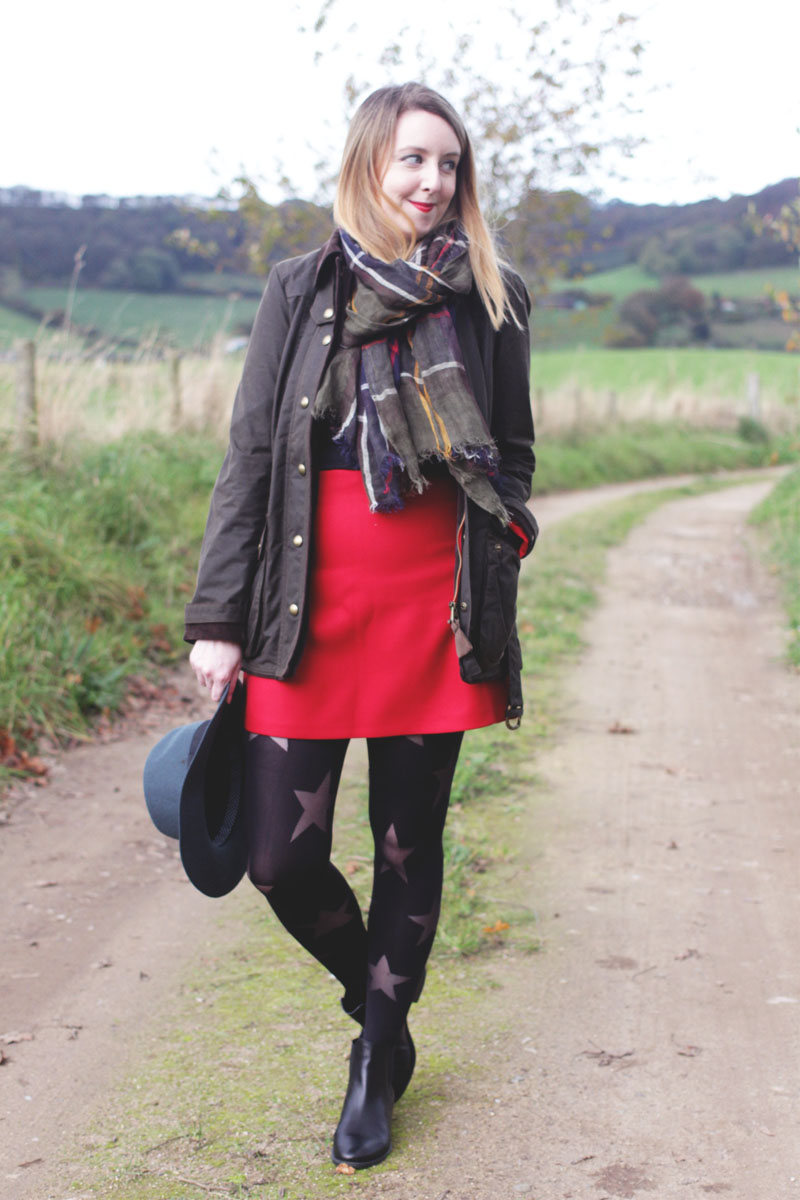 Joules Coat, Red Skirt and Barbour Scarf